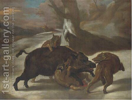 Wolves attacking a boar in a wooded landscape by (after)  Abraham Danielsz Hondius - Reproduction Oil Painting