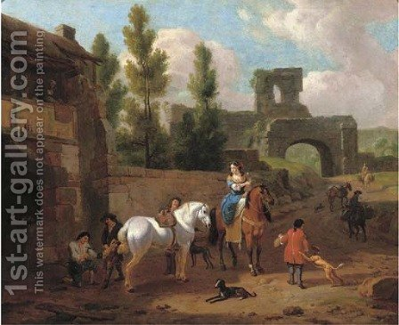 An elegant riding party at a blacksmith outside the walls of a town by (after) Abraham Jansz. Begeyn - Reproduction Oil Painting