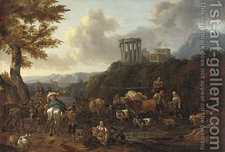 An Italianate landscape with drovers fording a river, the Temple of the Sibyl at Tivoli beyond by (after) Abraham Jansz. Begeyn - Reproduction Oil Painting