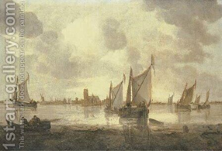 Dutch kaags and other shipping in calm seas, a view of Dordrecht beyond by (after) Abraham Hendrickz Van Beyeren - Reproduction Oil Painting