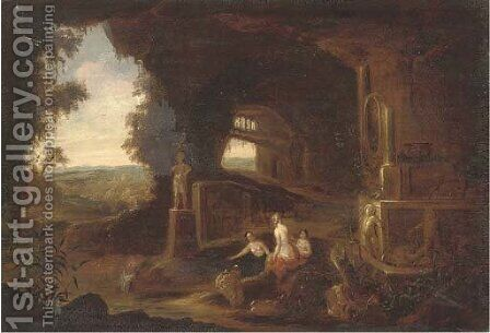 Nymphs bathing in a grotto by (after) Abraham Van Cuylenborch - Reproduction Oil Painting