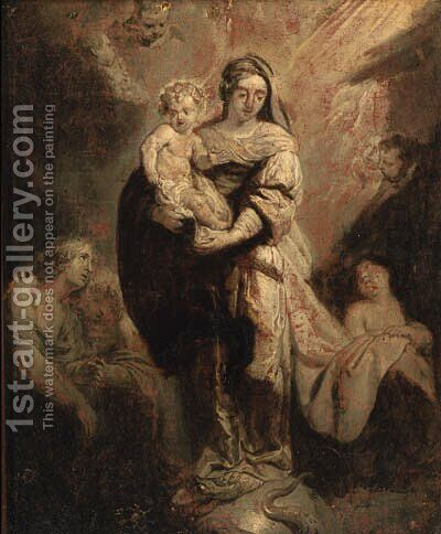 The Virgin and Child triumphant over sin - en grisaille by (after) Abraham Jansz. Van Diepenbeeck - Reproduction Oil Painting
