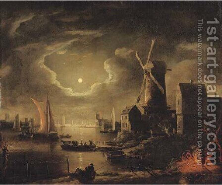 A moon-lit river landscape by (after) Adam Colonia - Reproduction Oil Painting