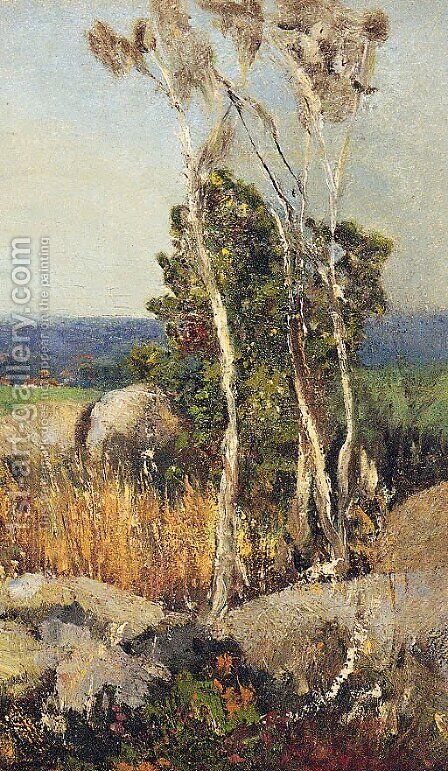 Trees And Boulders In An Extensive Landscape by (after) Adolfo Tommasi - Reproduction Oil Painting