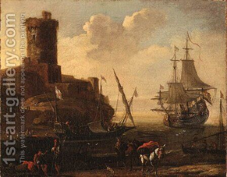 A Mediterranean Port by (after) Adrian Van Der Cabel - Reproduction Oil Painting