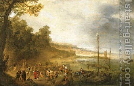 Christ preaching on the Sea of Galilee by (after) Adriaen Van Stalbemt - Reproduction Oil Painting