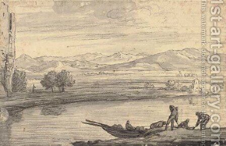 An Italianate landscape with boatmen on a river, ruins to the left by (after) Adrien Manglard - Reproduction Oil Painting