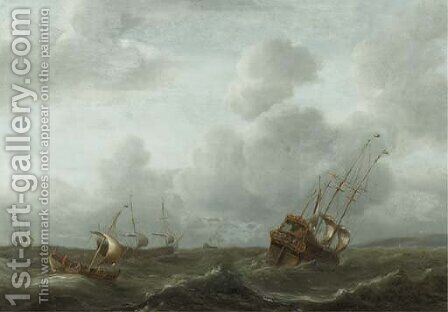A frigate and other shipping in a stiff breeze by (after) Aernout Smit - Reproduction Oil Painting