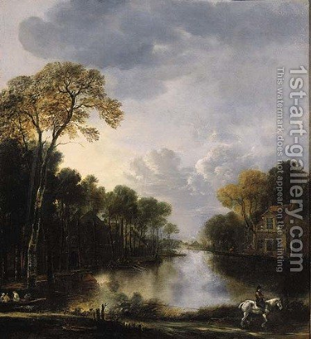 A river landscape at night with a ferry pulled on a rope by a rider in the foreground by (after) Aert Van Der Neer - Reproduction Oil Painting