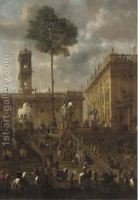 The Campidoglio, Rome by (after) Agostino Tassi - Reproduction Oil Painting