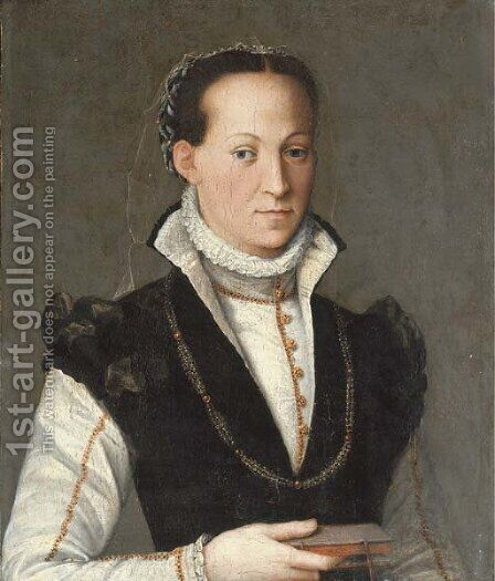 Portrait of a lady by (after) Alessandro Allori - Reproduction Oil Painting