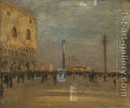 Piazza San Marco, Venezia by (after) Alessandro Altamura - Reproduction Oil Painting