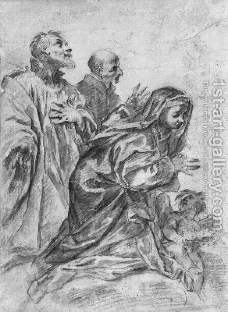Three figures in prayer with a putto holding a crown by (after) Alessandro Gherardini - Reproduction Oil Painting