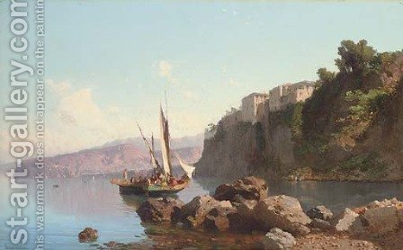 Fishing vessels before Sorrento by (after) Alessandro La Volpe - Reproduction Oil Painting