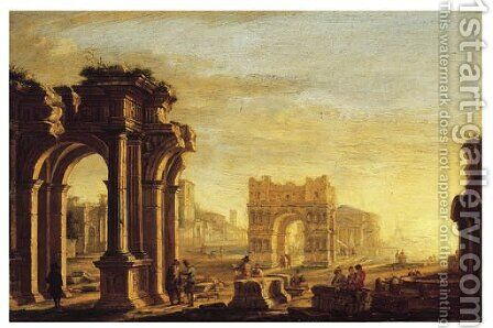 A capriccio of a Mediterranean port with figures amongst classical ruins by (after) Alessandro Salucci - Reproduction Oil Painting