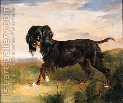 Portrait of a King Charles Spaniel in a Landscape by (after) Alexander MacInnes - Reproduction Oil Painting