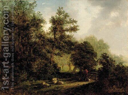 A forest scene with a shepherd, his dog and flock of sheep by (after) Alexander Nasmyth - Reproduction Oil Painting