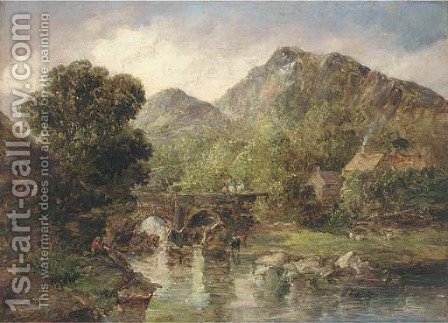 Figures crossing a bridge in a rocky river landscape by (after) Alfred Vickers - Reproduction Oil Painting