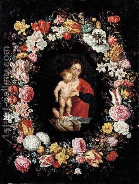 The Virgin and Child surrounded by a garland of flowers by (after) Andries Daniels Or Danielsz - Reproduction Oil Painting