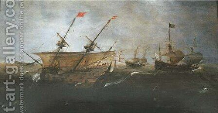 Merchantmen at sea in a gale by (after) Andries Van Eertvelt - Reproduction Oil Painting