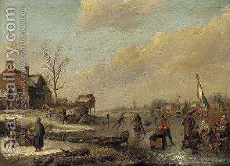 A frozen river with townsfolk skating and sledging by (after) Andries Vermeulen - Reproduction Oil Painting