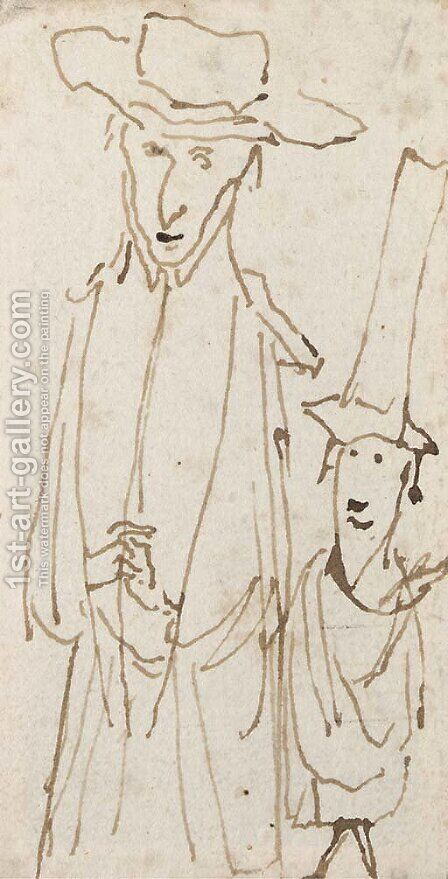 A caricature of a prelate and his servant by (after) Angelo De' Rossi - Reproduction Oil Painting