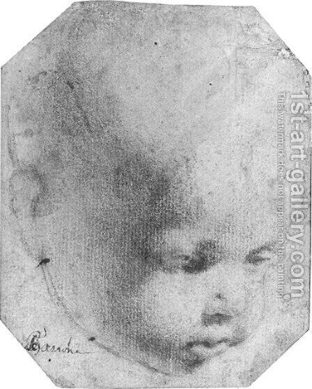 The head of a child looking down by (after) Annibale Carracci - Reproduction Oil Painting