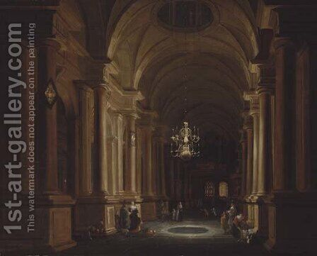 A darkened church interior with children playing and elegant figures conversing by (after) Anthonie De Lorme - Reproduction Oil Painting