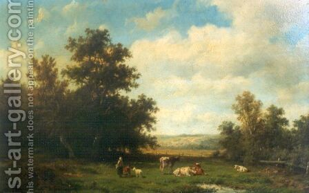 A pastoral landscape by (after) Anthonie Jacobus Van Wyngaerts - Reproduction Oil Painting