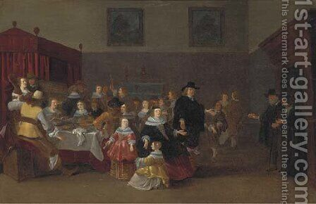 A banquet by (after) Anthonie Palamedesz(Stevaerts, Stevens) - Reproduction Oil Painting