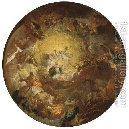 The Assumption of the Virgin a modello for a domed ceiling by (after) Antoine The Younger Berthelemy - Reproduction Oil Painting