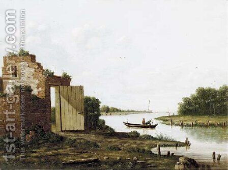 A ruin by a river by (after) Antonie Waldorp - Reproduction Oil Painting