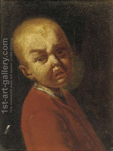 A portrait of a boy crying by (after) Antonio Amorosi - Reproduction Oil Painting