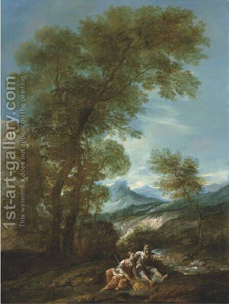 A mountainous river landscape with a shepherd and shepherdess by (after) Antonio Diziani - Reproduction Oil Painting