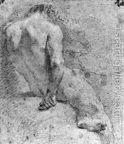 A seated nude, seen from behind by (after) Anton Domenico Gabbiani - Reproduction Oil Painting