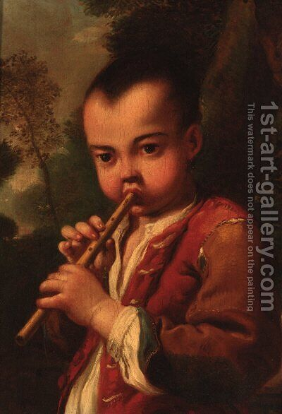 A boy playing a flute in a landscape by (after) Antonio Amorosi - Reproduction Oil Painting