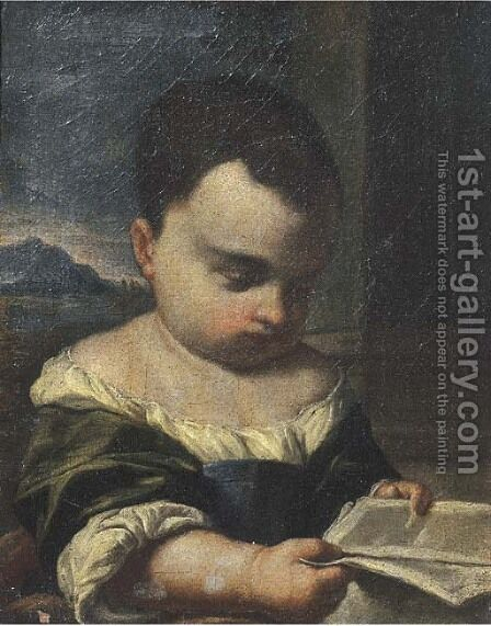A young girl reading a book, a landscape beyond by (after) Antonio Amorosi - Reproduction Oil Painting