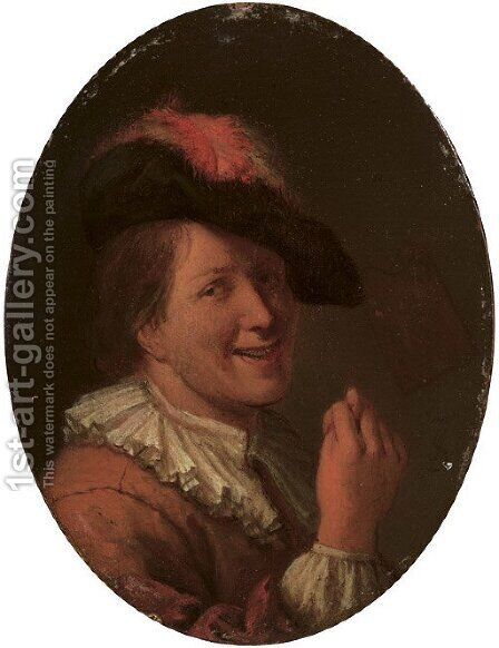A man in a plumed hat making an obscene gesture by (after) Arie De Vois - Reproduction Oil Painting