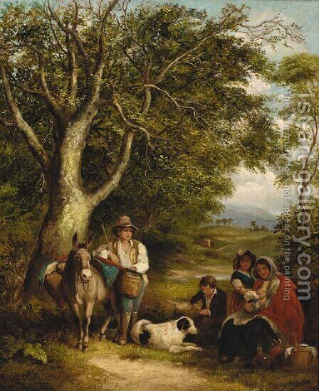 Travellers resting on a wooded track by (after) Arthur J. Stark - Reproduction Oil Painting
