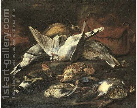 A hunting still life with dead birds by (after) Baldassare De Caro - Reproduction Oil Painting