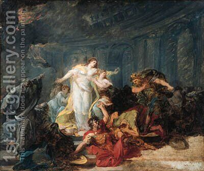 The Death of Priam by (after) Baron Jean-Baptiste Regnault - Reproduction Oil Painting