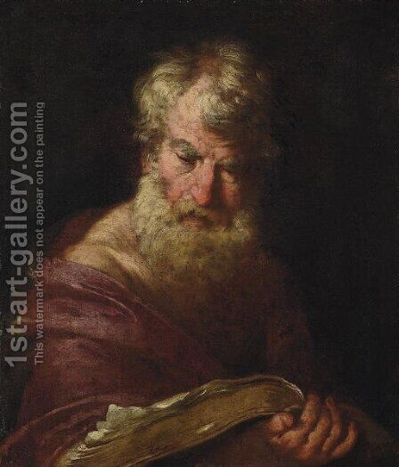 A philosopher by (after) Bernardo Strozzi - Reproduction Oil Painting