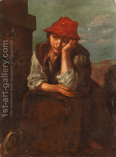 A boy seated, wearing a red cap by (after) Bernhard Keil - Reproduction Oil Painting