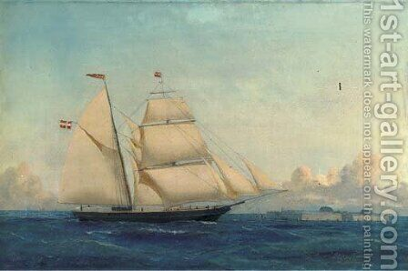 The Danish schooner Julius of Copenhagen off a Danish fortress by (after) Carl Julius Emil Olsen - Reproduction Oil Painting