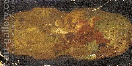 An allegorical scene a modello for a ceiling painting by (after) Carlo Innocenzo Carloni - Reproduction Oil Painting