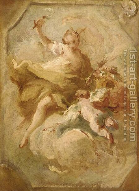 Ceres - a bozzetto for a ceiling decoration by (after) Carlo Innocenzo Carloni - Reproduction Oil Painting