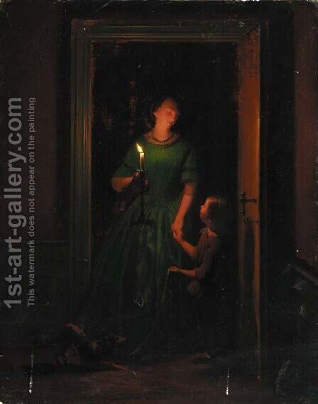 A Mother And Child At A Candlelit Doorway by (after) Charles Guillaume Rosier - Reproduction Oil Painting