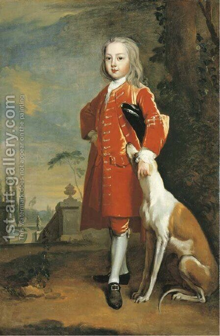 Portrait of a boy, full-length, in a red coat, a dog by his side, in a landscape by (attr. to) Jervas, Charles - Reproduction Oil Painting