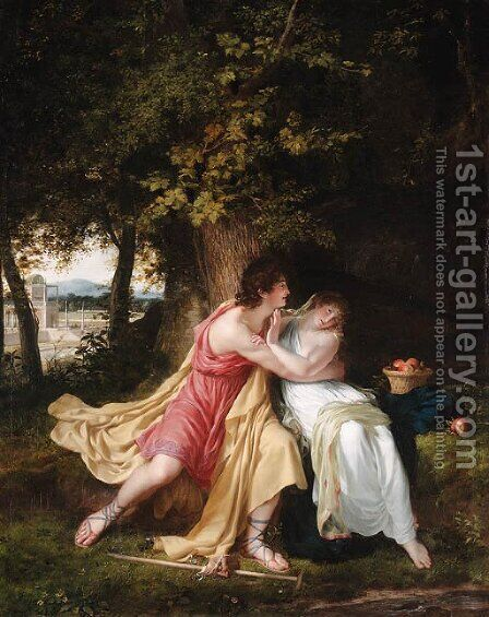 Vertumnus and Pomona by (after)  Charles Victoire Frederic Moench - Reproduction Oil Painting
