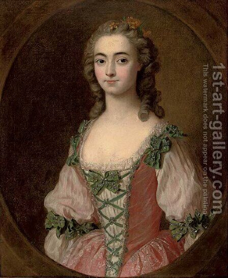 Portrait of a lady by (after) Charles-Amedee-Philippe Van Loo - Reproduction Oil Painting